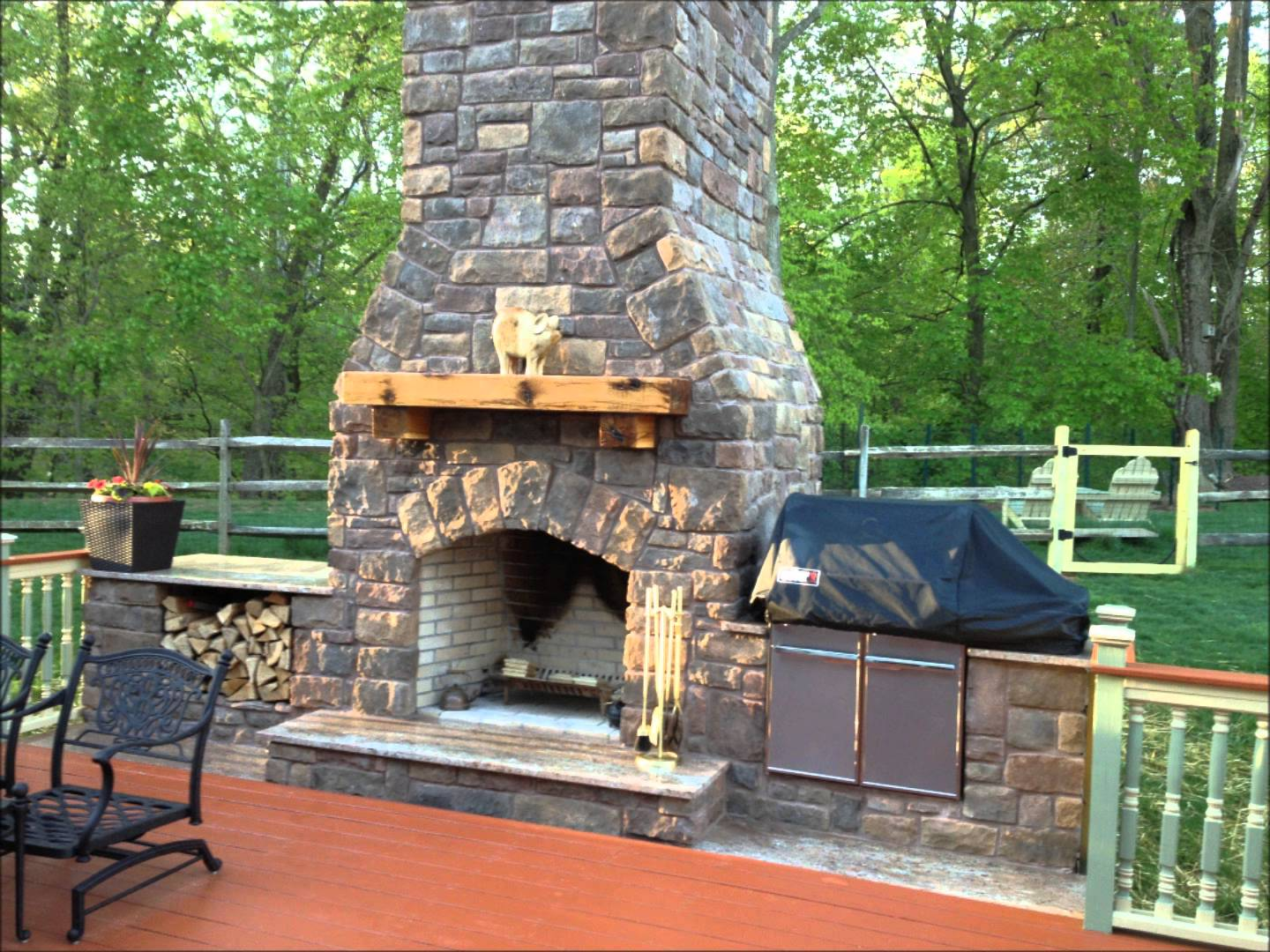 fireplace wood top burning idea stove outdoor fireplaces